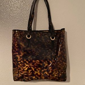 Elaine Turner Tortoise pvc tote bag with pouch